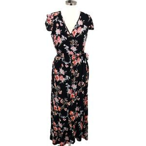 Band of Gypsies Large Floral Wrap Surplice V-Neck